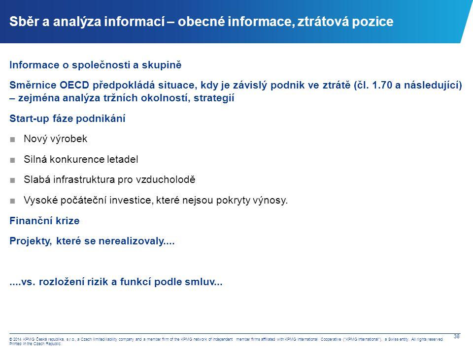 Sběr a analýza informací – výrobky