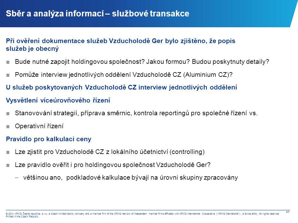 Sběr a analýza informací – srovnávací analýza – Amadeus