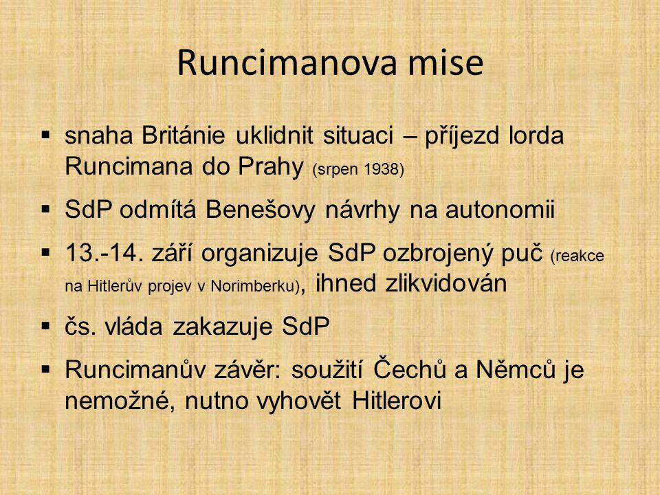 Runcimanova mise snaha Británie uklidnit situaci – příjezd lorda Runcimana do Prahy (srpen 1938) SdP odmítá Benešovy návrhy na autonomii.