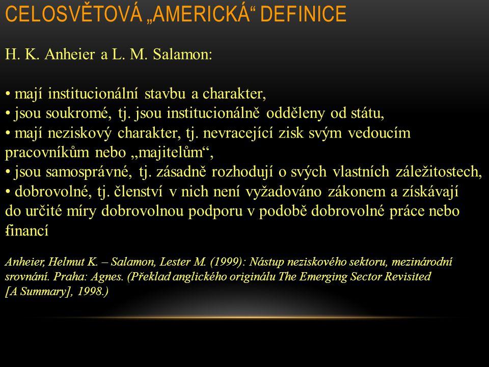 """CELOSVĚTOVÁ """"AMERICKÁ DEFINICE"""
