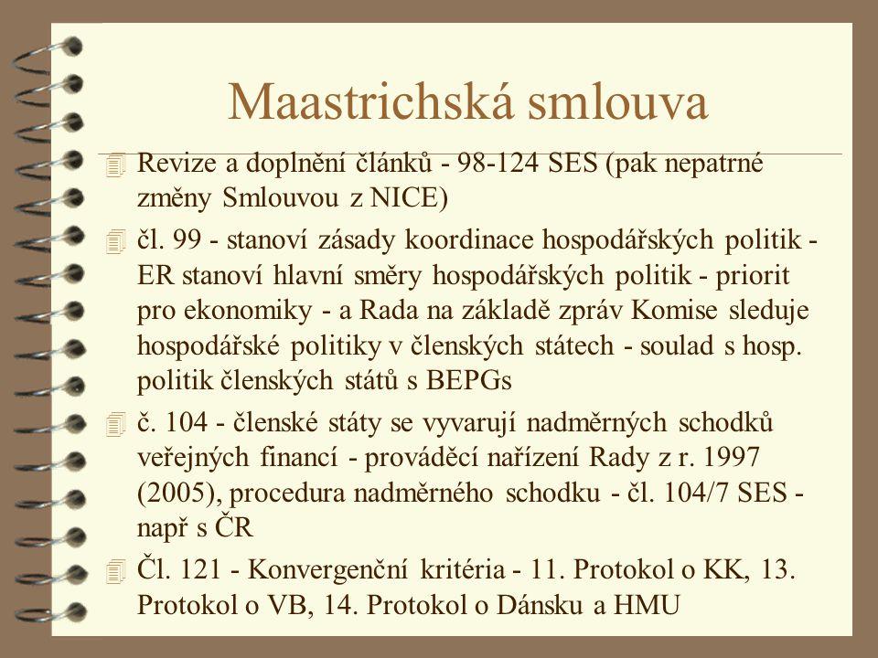 Maastrichská smlouva Revize a doplnění článků - 98-124 SES (pak nepatrné změny Smlouvou z NICE)