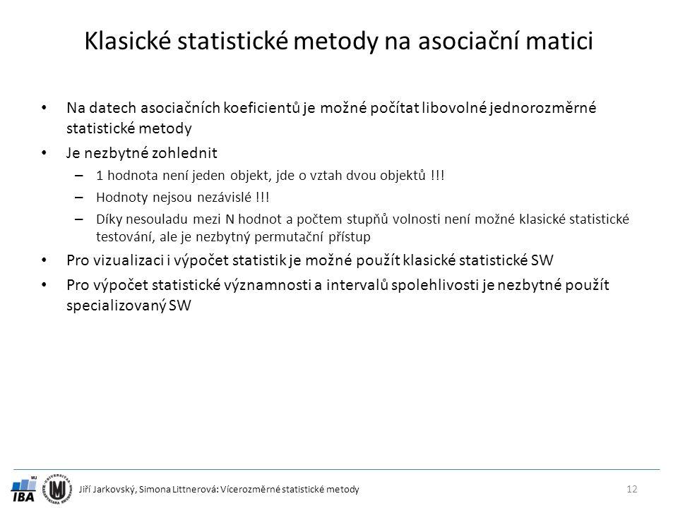 Klasické statistické metody na asociační matici