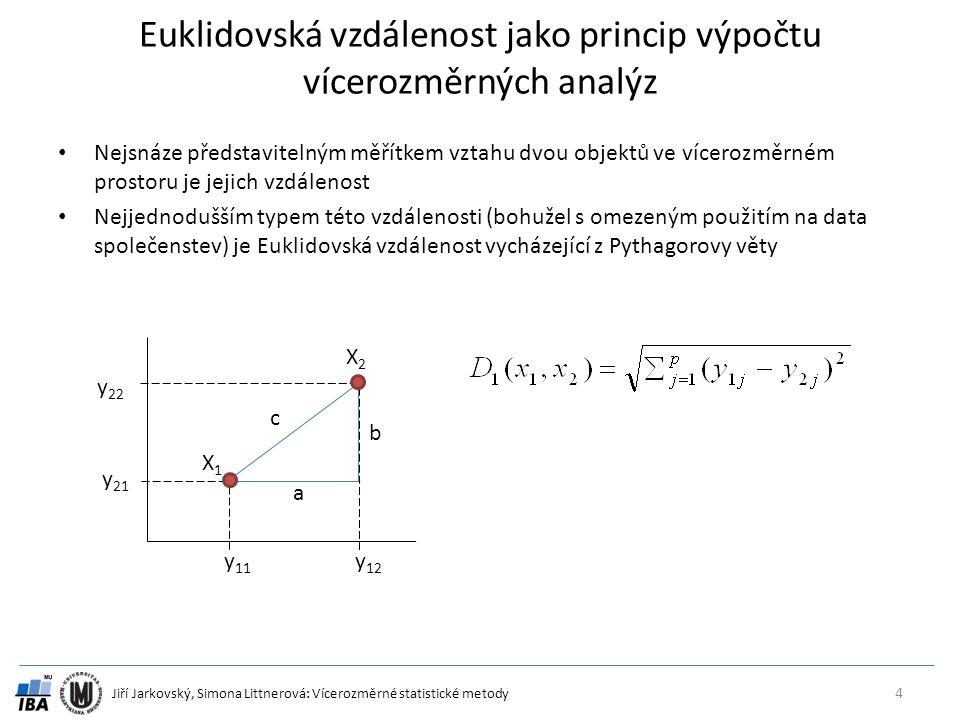 Euklidovská vzdálenost jako princip výpočtu vícerozměrných analýz