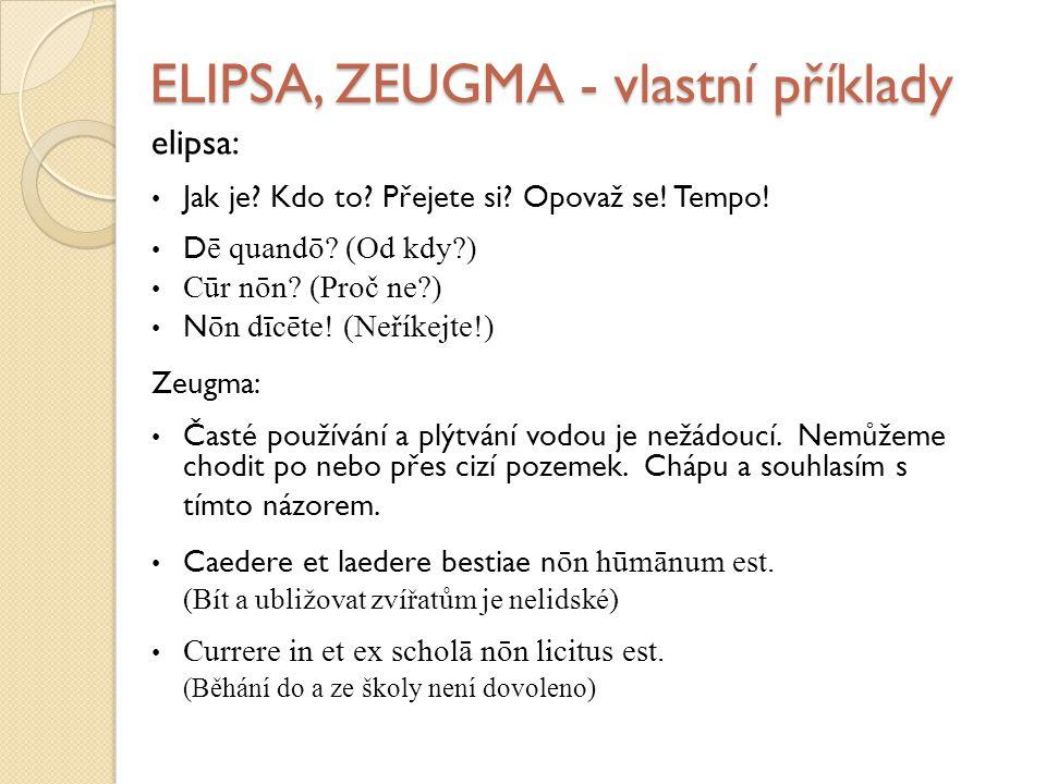 ELIPSA, ZEUGMA - vlastní příklady