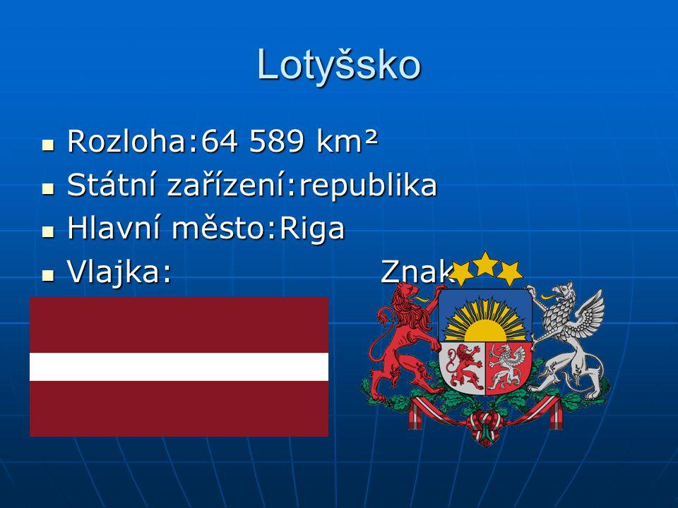 Lotyšsko Rozloha:64 589 km² Státní zařízení:republika