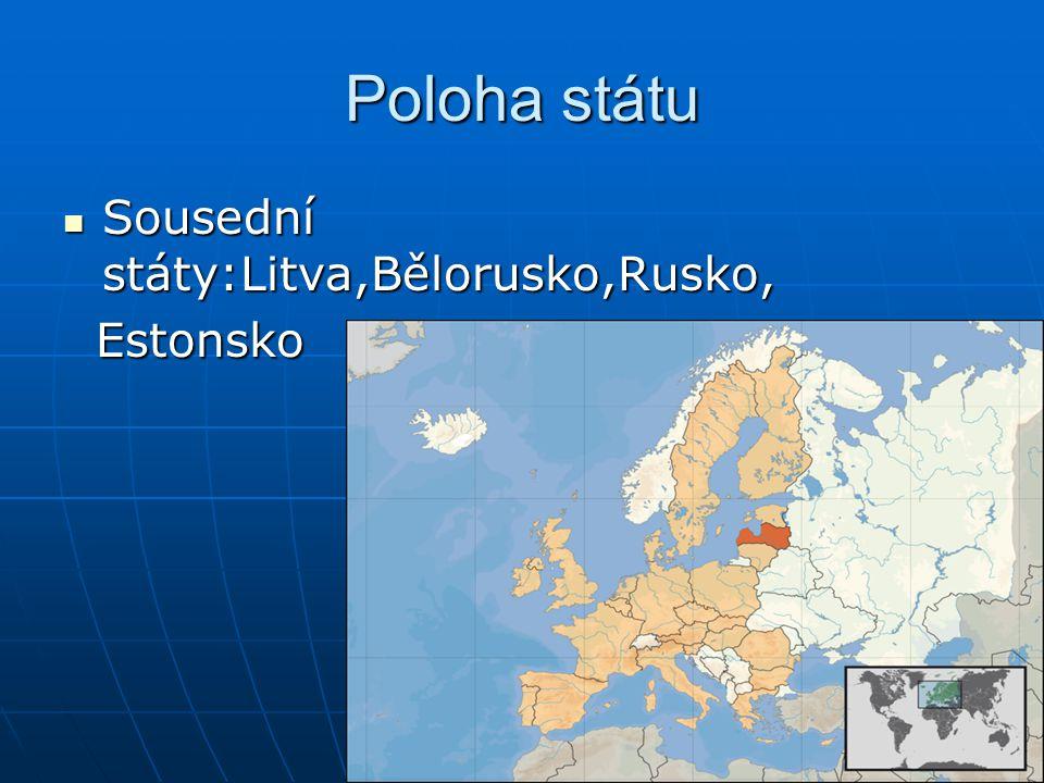 Poloha státu Sousední státy:Litva,Bělorusko,Rusko, Estonsko