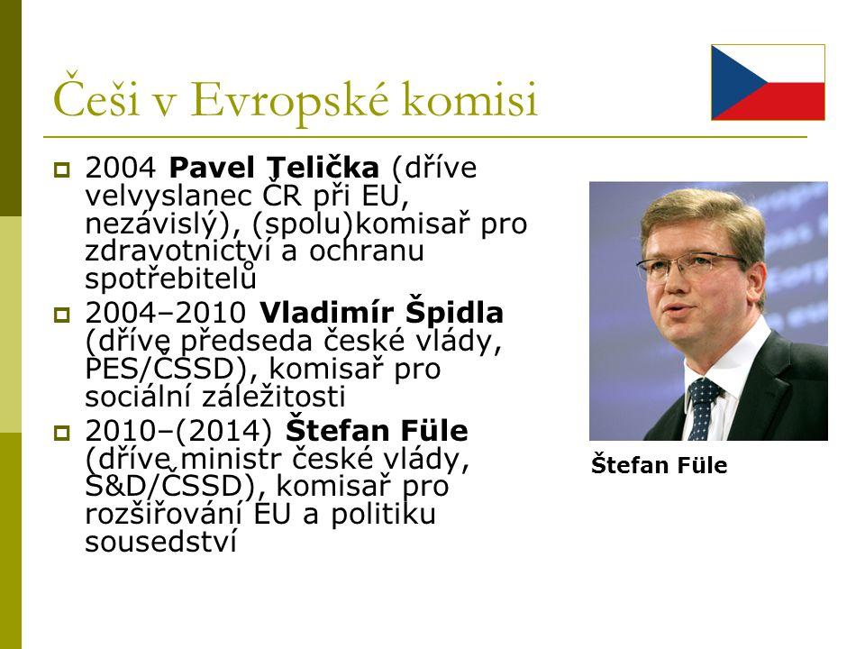 Češi v Evropské komisi 2004 Pavel Telička (dříve velvyslanec ČR při EU, nezávislý), (spolu)komisař pro zdravotnictví a ochranu spotřebitelů.