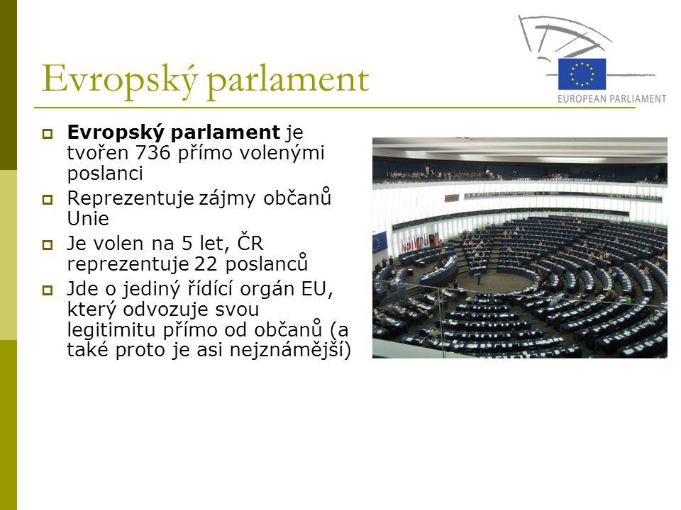 Evropský parlament Evropský parlament je tvořen 736 přímo volenými poslanci. Reprezentuje zájmy občanů Unie.