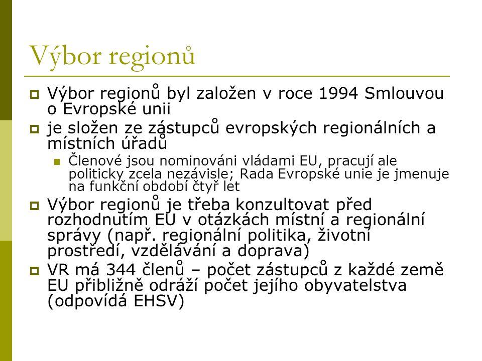Výbor regionů Výbor regionů byl založen v roce 1994 Smlouvou o Evropské unii. je složen ze zástupců evropských regionálních a místních úřadů.