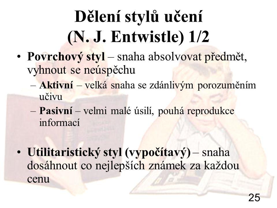 Dělení stylů učení (N. J. Entwistle) 1/2