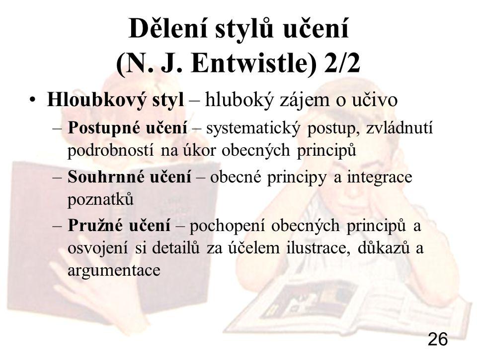 Dělení stylů učení (N. J. Entwistle) 2/2