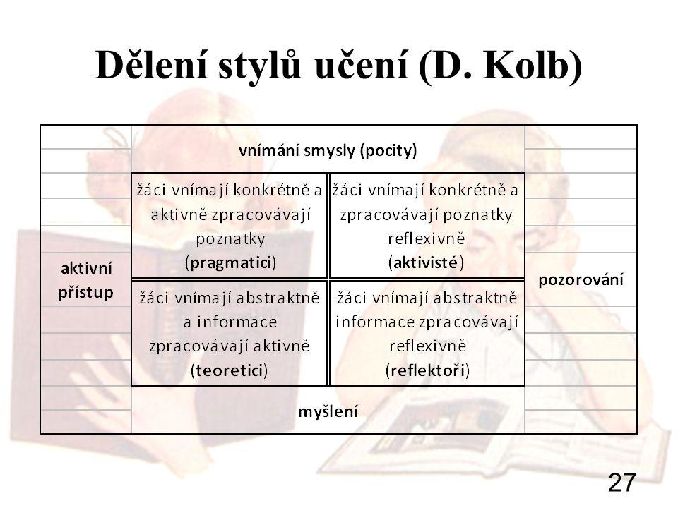 Dělení stylů učení (D. Kolb)