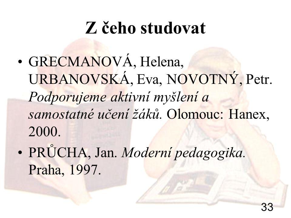 Z čeho studovat GRECMANOVÁ, Helena, URBANOVSKÁ, Eva, NOVOTNÝ, Petr. Podporujeme aktivní myšlení a samostatné učení žáků. Olomouc: Hanex, 2000.