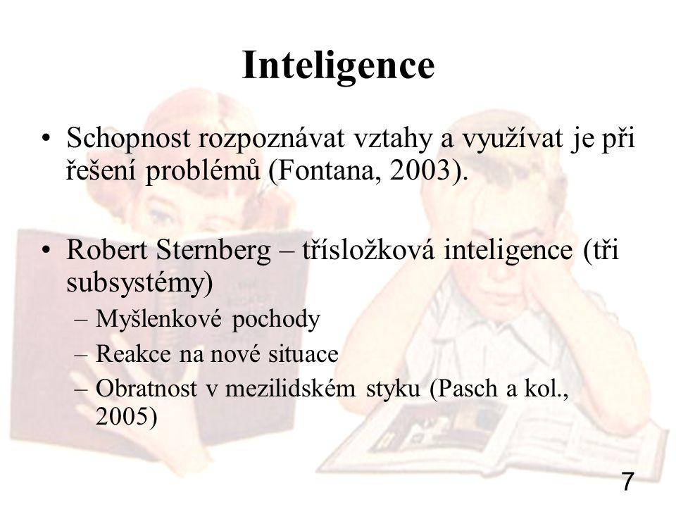 Inteligence Schopnost rozpoznávat vztahy a využívat je při řešení problémů (Fontana, 2003).