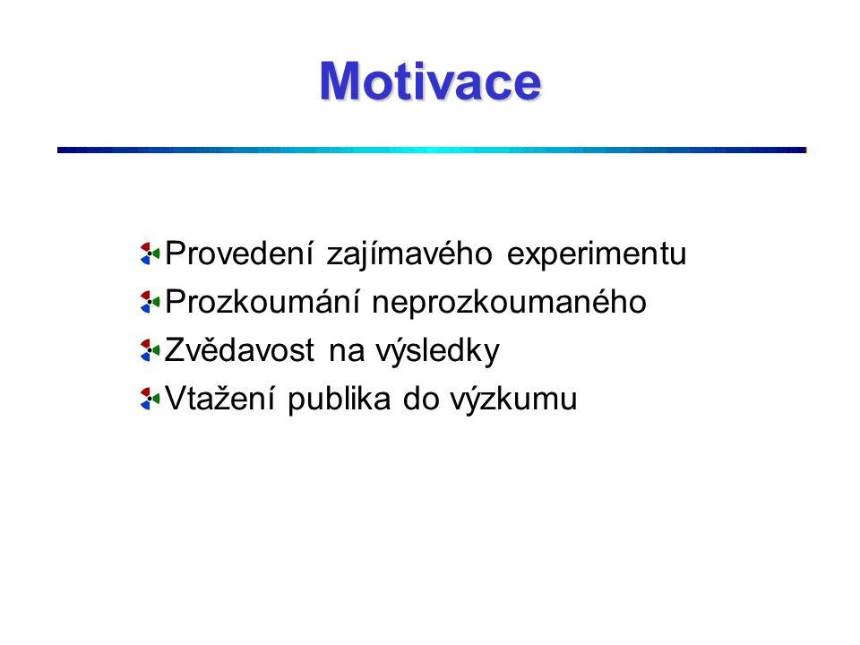 Motivace Provedení zajímavého experimentu Prozkoumání neprozkoumaného