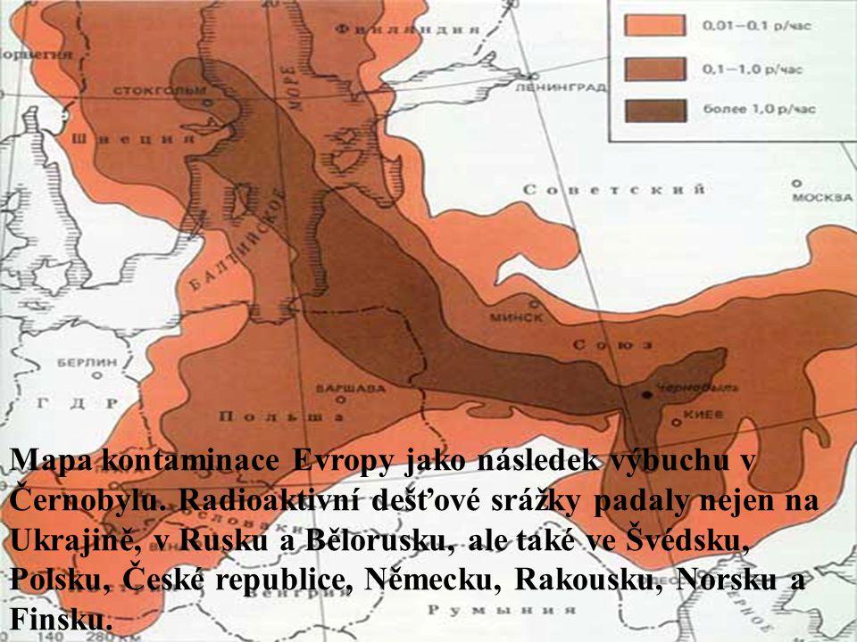 Mapa kontaminace Evropy jako následek výbuchu v Černobylu