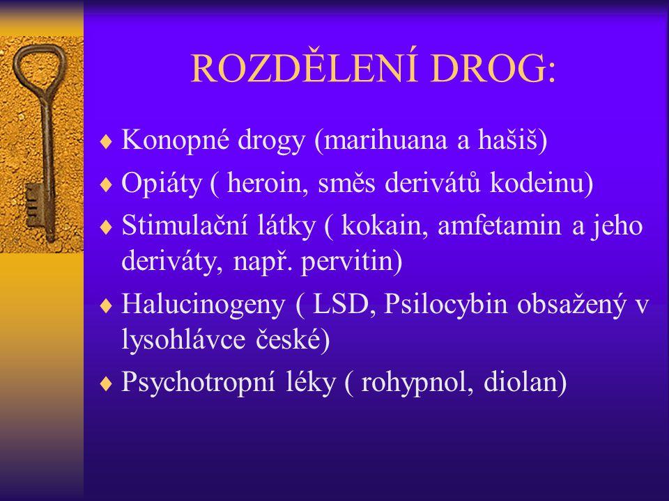 ROZDĚLENÍ DROG: Konopné drogy (marihuana a hašiš)