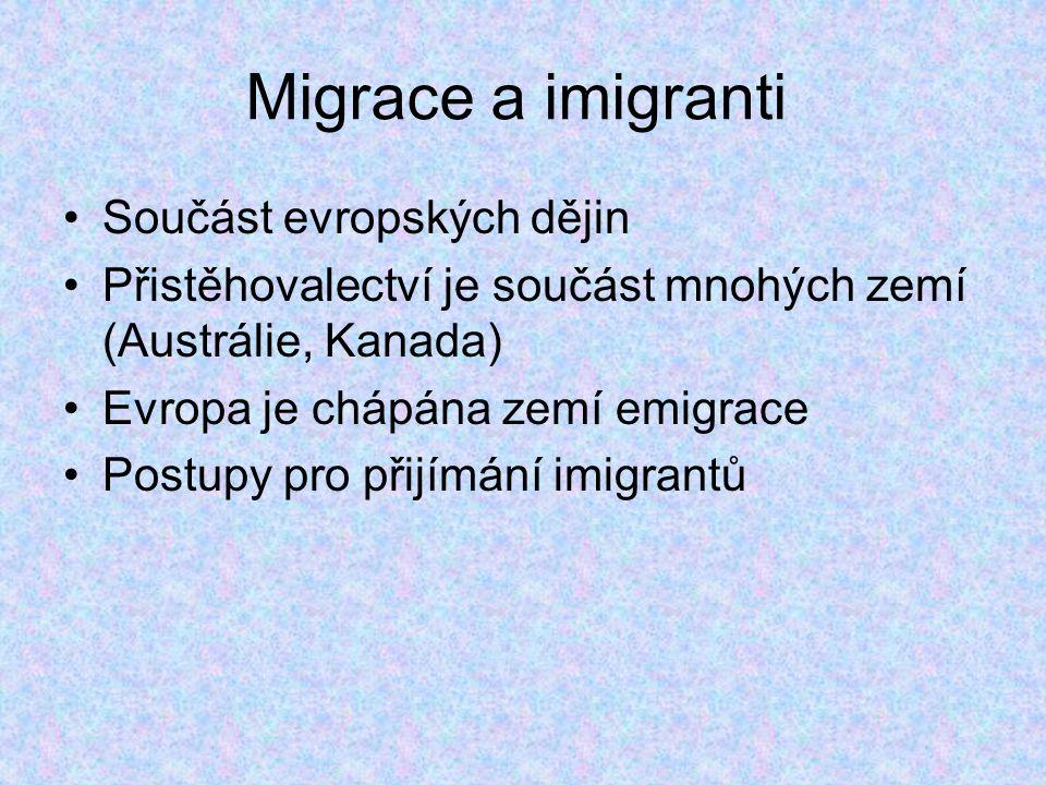 Migrace a imigranti Součást evropských dějin