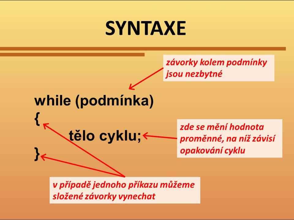 SYNTAXE while (podmínka) { tělo cyklu; }