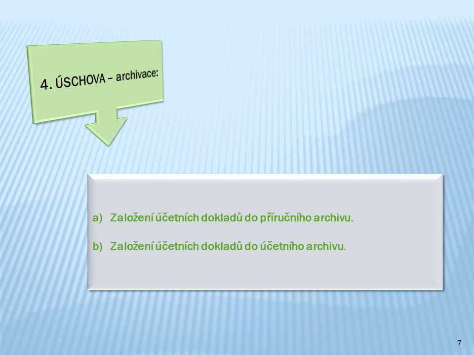 4. ÚSCHOVA – archivace: Založení účetních dokladů do příručního archivu.
