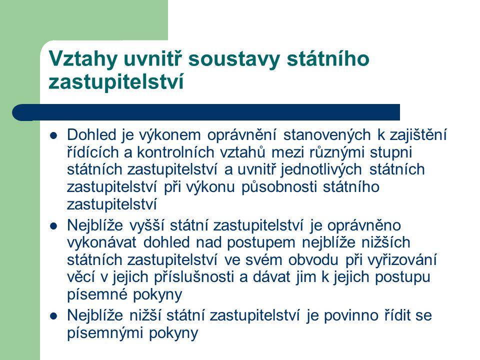 Vztahy uvnitř soustavy státního zastupitelství