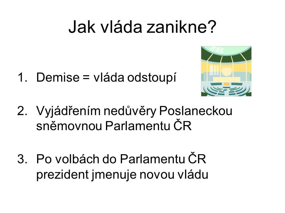 Jak vláda zanikne Demise = vláda odstoupí