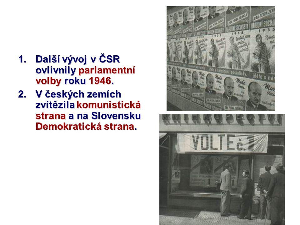 Další vývoj v ČSR ovlivnily parlamentní volby roku 1946.