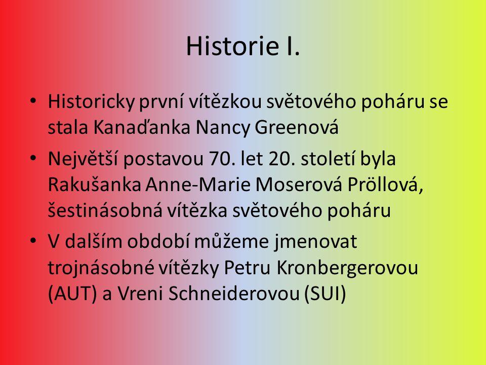 Historie I. Historicky první vítězkou světového poháru se stala Kanaďanka Nancy Greenová.