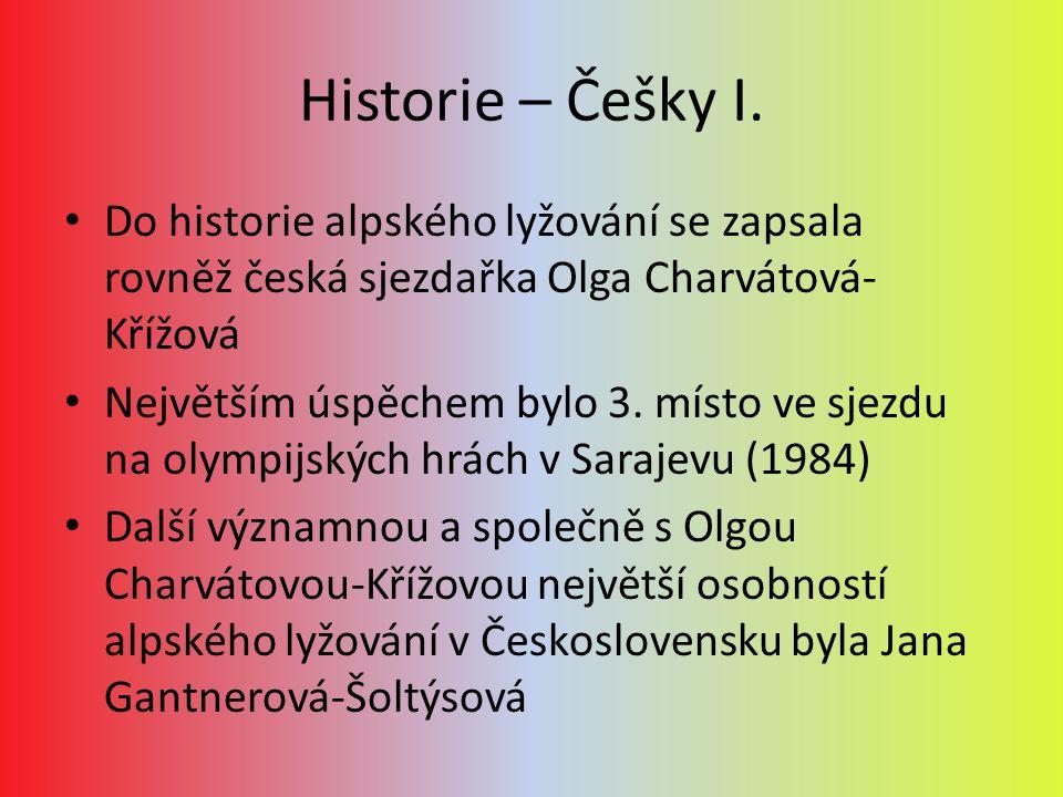 Historie – Češky I. Do historie alpského lyžování se zapsala rovněž česká sjezdařka Olga Charvátová-Křížová.
