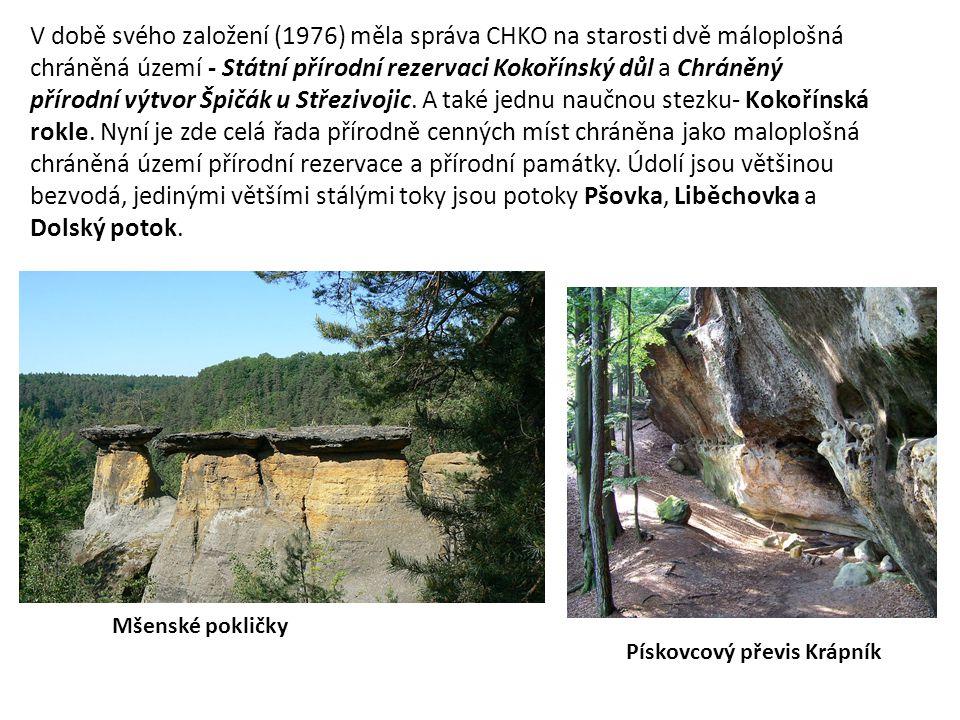 V době svého založení (1976) měla správa CHKO na starosti dvě máloplošná chráněná území - Státní přírodní rezervaci Kokořínský důl a Chráněný přírodní výtvor Špičák u Střezivojic. A také jednu naučnou stezku- Kokořínská rokle. Nyní je zde celá řada přírodně cenných míst chráněna jako maloplošná chráněná území přírodní rezervace a přírodní památky. Údolí jsou většinou bezvodá, jedinými většími stálými toky jsou potoky Pšovka, Liběchovka a Dolský potok.