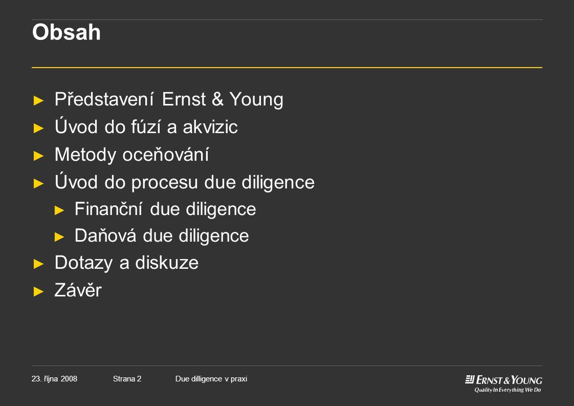 Obsah Představení Ernst & Young Úvod do fúzí a akvizic