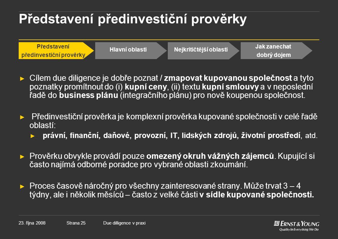 Představení předinvestiční prověrky