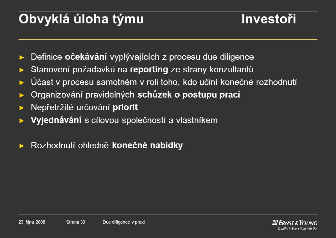 Obvyklá úloha týmu Investoři