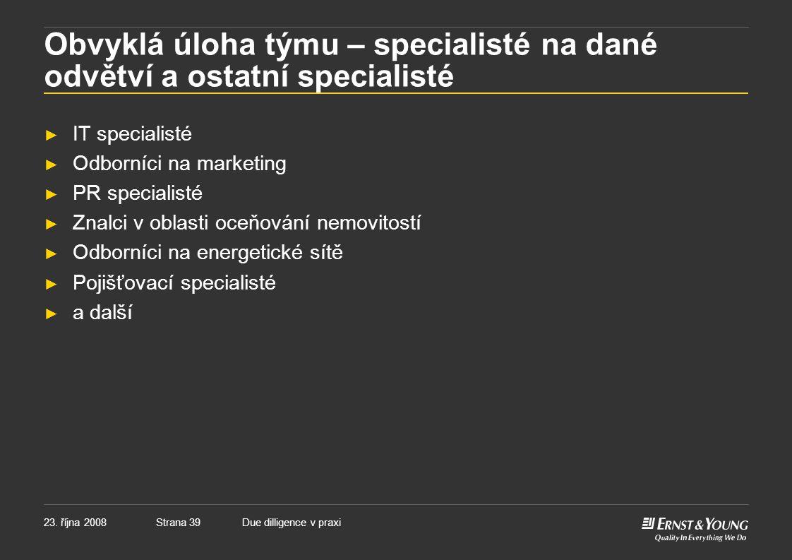 Obvyklá úloha týmu – specialisté na dané odvětví a ostatní specialisté
