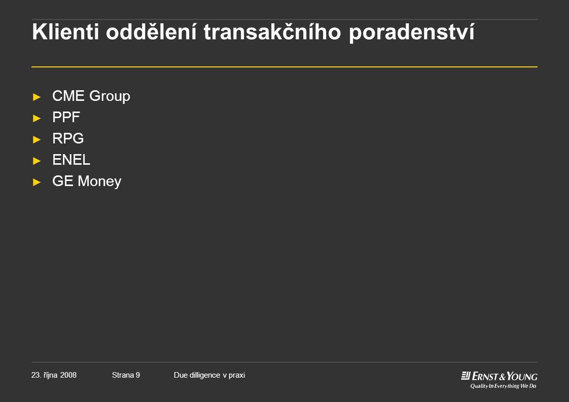 Klienti oddělení transakčního poradenství