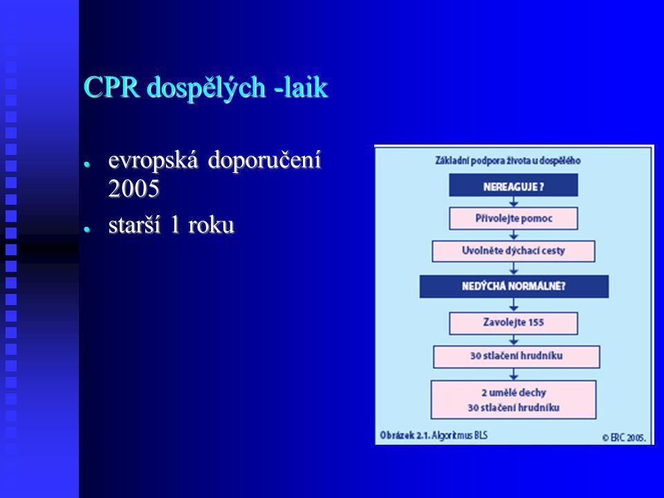 CPR dospělých -laik evropská doporučení 2005 starší 1 roku