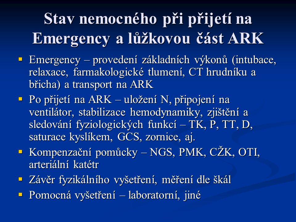 Stav nemocného při přijetí na Emergency a lůžkovou část ARK