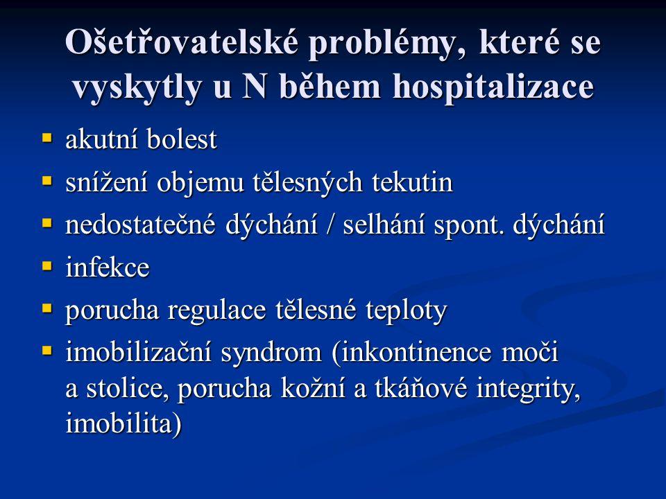 Ošetřovatelské problémy, které se vyskytly u N během hospitalizace