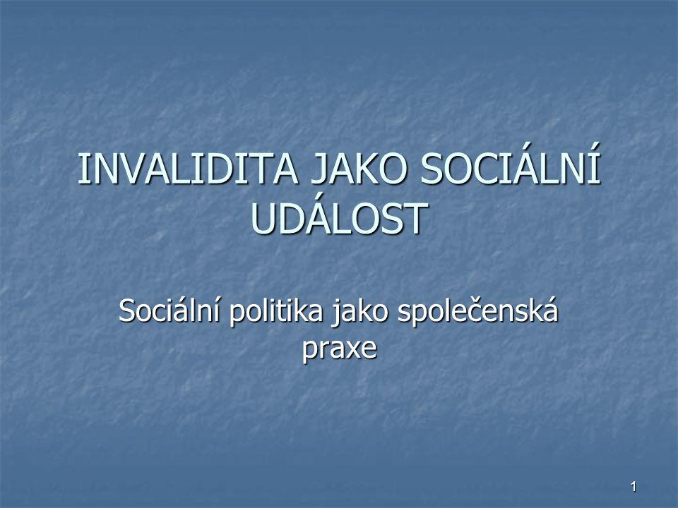 INVALIDITA JAKO SOCIÁLNÍ UDÁLOST