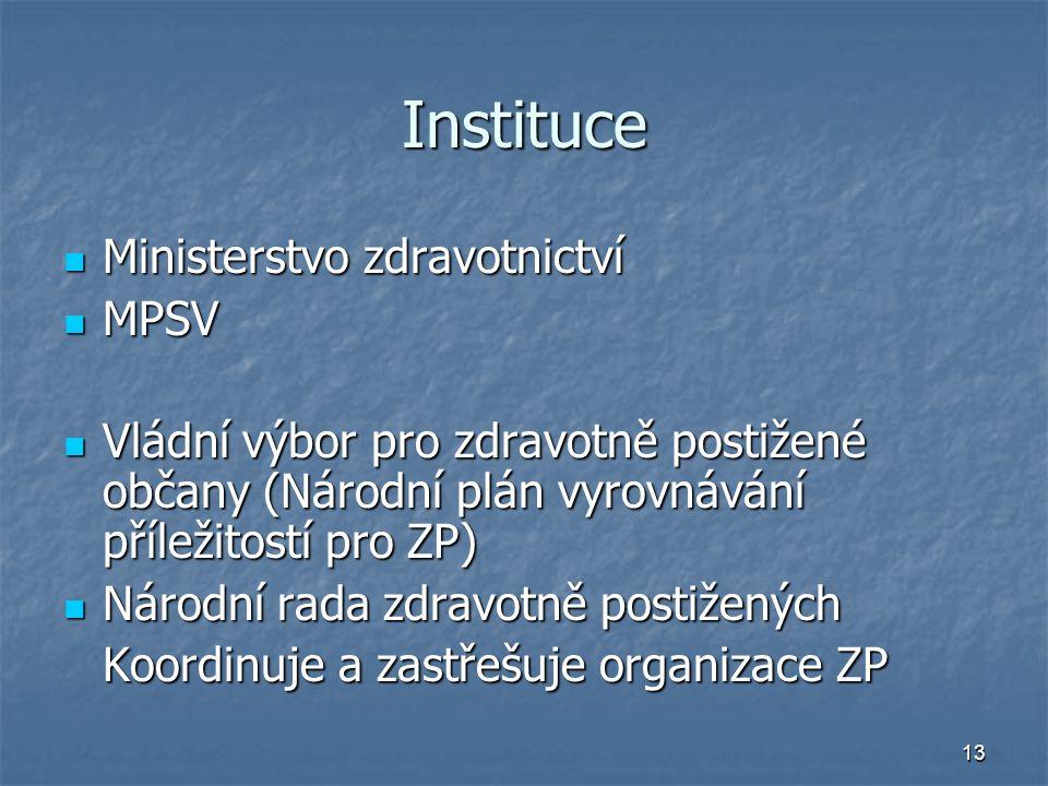Instituce Ministerstvo zdravotnictví MPSV