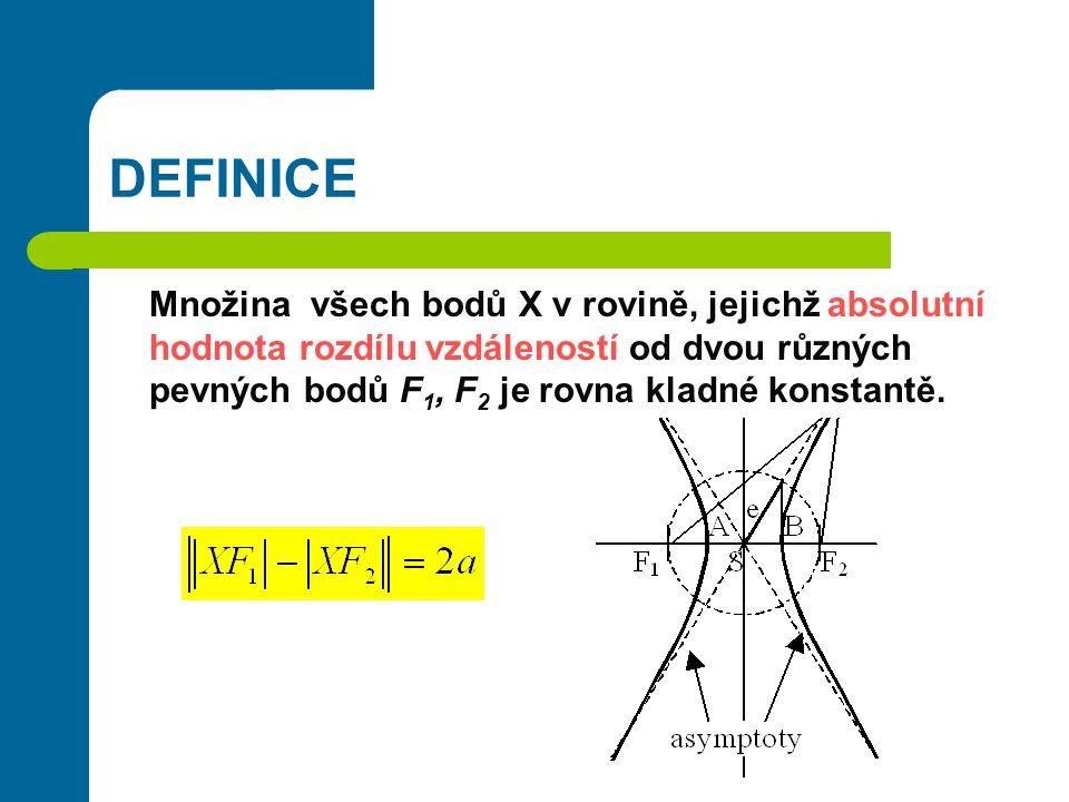 DEFINICE Množina všech bodů X v rovině, jejichž absolutní hodnota rozdílu vzdáleností od dvou různých pevných bodů F1, F2 je rovna kladné konstantě.