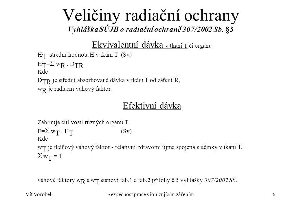 Veličiny radiační ochrany Vyhláška SÚJB o radiační ochraně 307/2002 Sb
