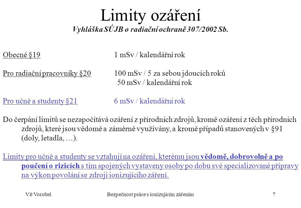 Limity ozáření Vyhláška SÚJB o radiační ochraně 307/2002 Sb.