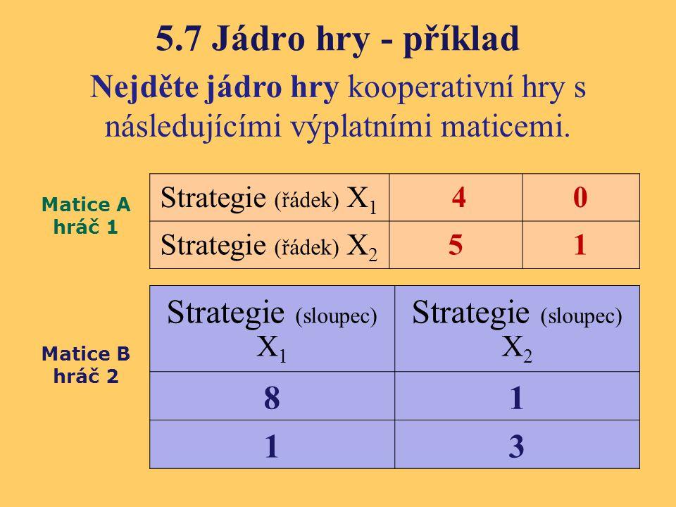 5.7 Jádro hry - příklad Strategie (sloupec) X1 Strategie (sloupec) X2