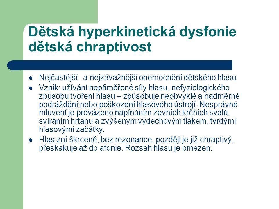 Dětská hyperkinetická dysfonie dětská chraptivost