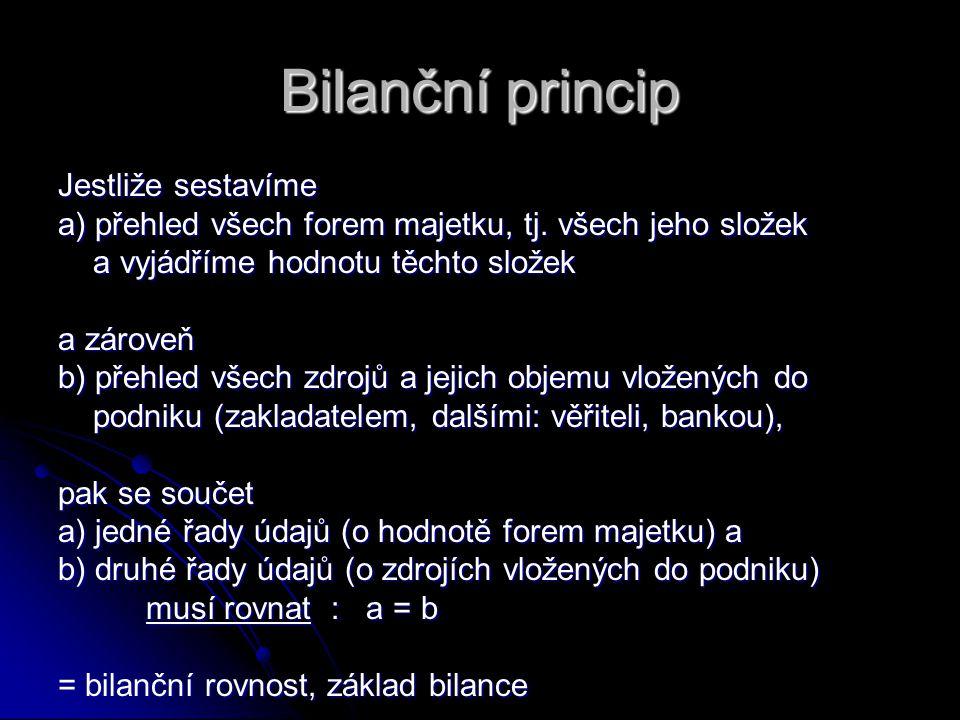 Bilanční princip Jestliže sestavíme