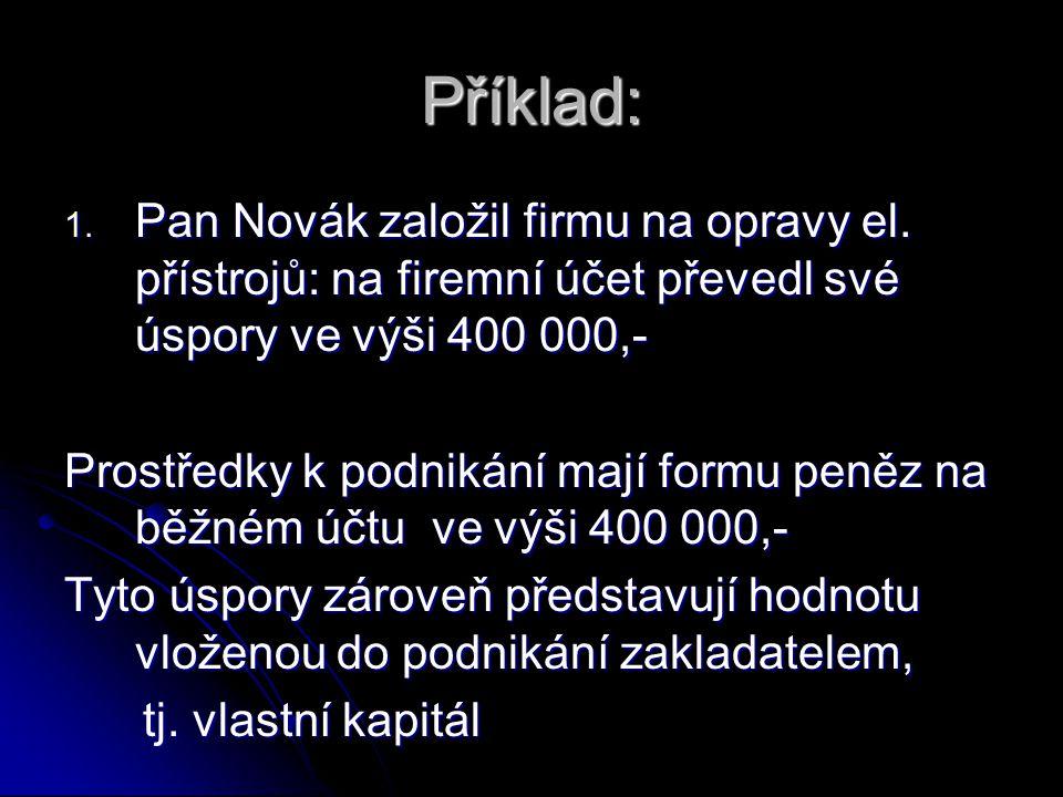 Příklad: Pan Novák založil firmu na opravy el. přístrojů: na firemní účet převedl své úspory ve výši 400 000,-