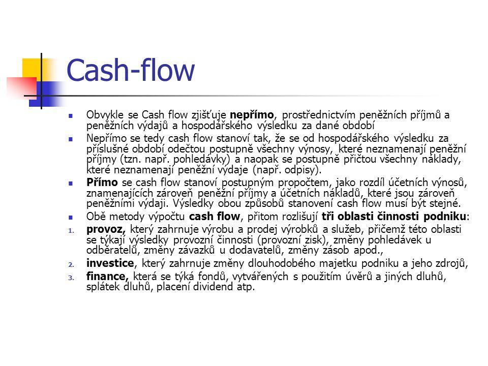 Cash-flow Obvykle se Cash flow zjišťuje nepřímo, prostřednictvím peněžních příjmů a peněžních výdajů a hospodářského výsledku za dané období.