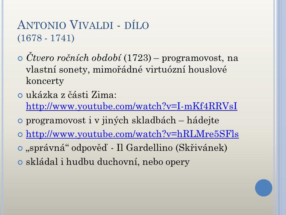 Antonio Vivaldi - dílo (1678 - 1741)