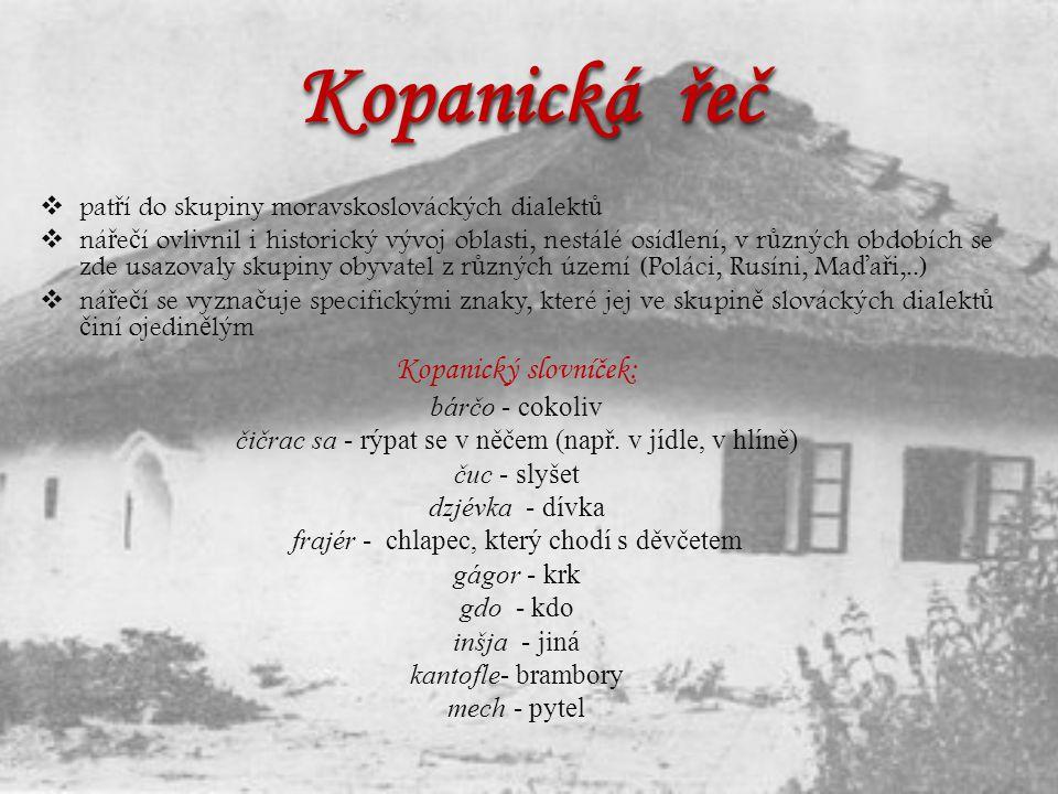 Kopanická řeč Kopanický slovníček: